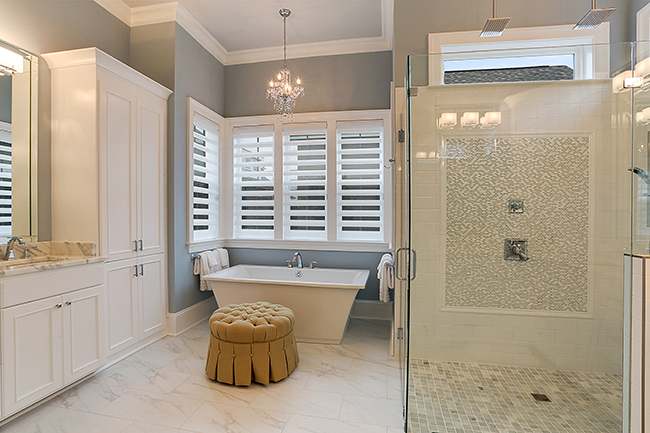 Oversized Master Shower and Custom Cabinetry by Highland Homes